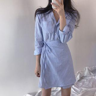 Ulzzang Striped Wrap Button Down Dress