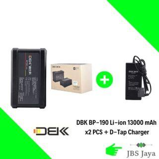 DBK BP-190 Li-ion 13000 mAh 190Wh V Mount Battery x2 Units with D-Tap 16.8V DC Charger Adapter
