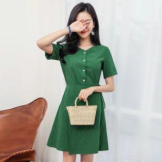 Ulzzang Green Wrap Button Down Dress
