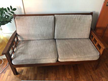 🚚 Used 2-seater Teak wood Sofa