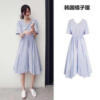 Ulzzang Blue Striped Midi Dress