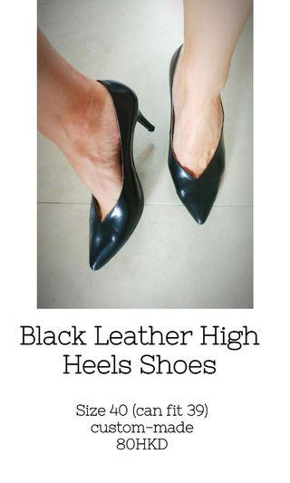 Leather Black High Heels shoes