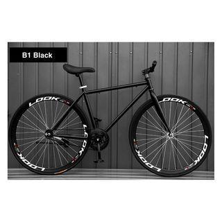 "INSTOCKS 26"" Black Frame & Black Rim Fixie With Black Tyre Coaster Brakes New Bicycle"