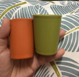 Tupperware vintage 2 mini tumbler cups #1503-1,1503-3, series 70s