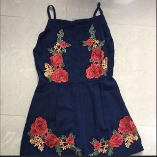 Embroidery floral navy romper