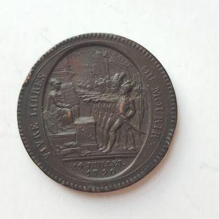 French 5 Sols 1792 Bronze Coin