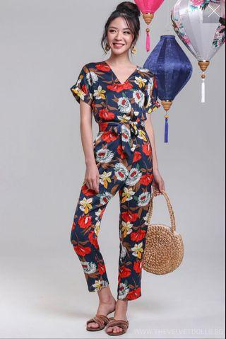 🚚 TheVelvetDolls Havana Tropical Jumpsuit in Navy