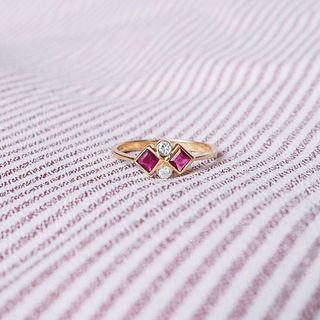 THE SPACE BETWEEN DIAMOND RUBY RING