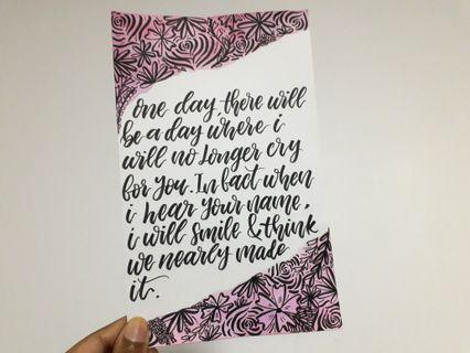 Customizable Calligraphy Quote Cards- 8x5""