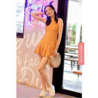 Eyelet dress in mustard marigold mustard brand new with tag