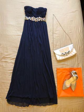 Evening / Prom dress with matching bag and shoes