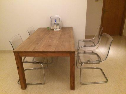 Scanteak solid teak dining table w 4 ikea chairs