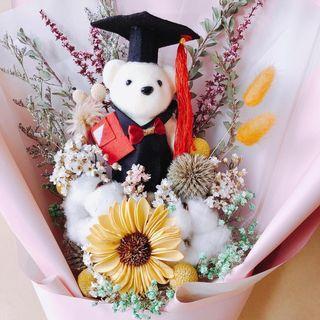 🚚 現貨 畢業小熊乾燥花束🎓乾燥花束 乾燥花