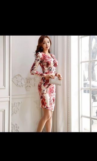 Korean fashion dress with floral prints