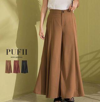 🚚 Pufii 帕妃-質感雪紡鬆緊長褲
