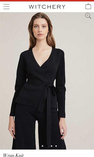 WITCHERY black wrap knit top