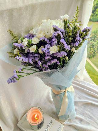 🚚 =Don't Forget Me= Fresh. Hand-made. Purple Statice Flower Bouquet.