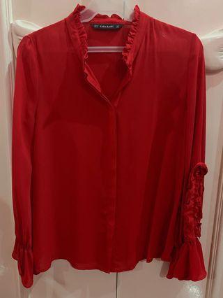 Zara Red sheer top
