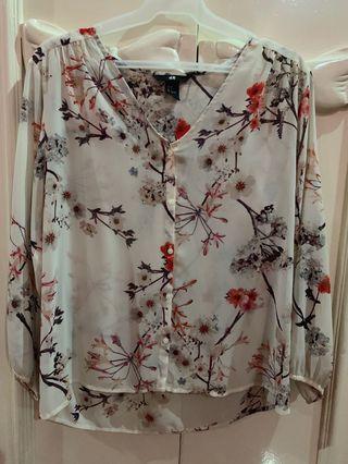 H&M Sheer floral top