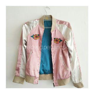 Jaket Bomber Pink Tosca Sukajan Double Side #mauthr