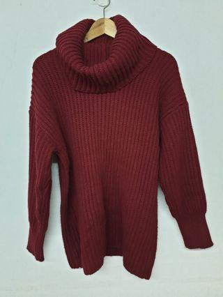 🚚 暗紅色翻領毛衣