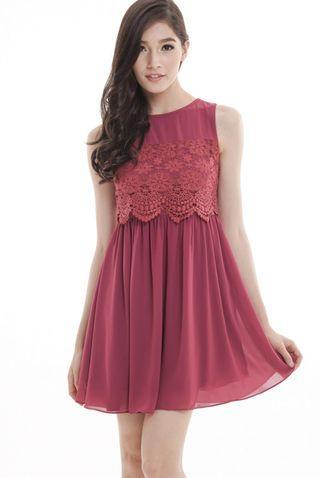 TCL Kaelyn Crochet Panel Dress in Berry