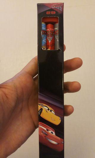 全新 台灣生產 學前適用 幼兒 幼稚園學生 三角形鉛筆 Disney Pixar Cars 3 迪士尼彼思動畫 反斗車王 連鉛筆刨