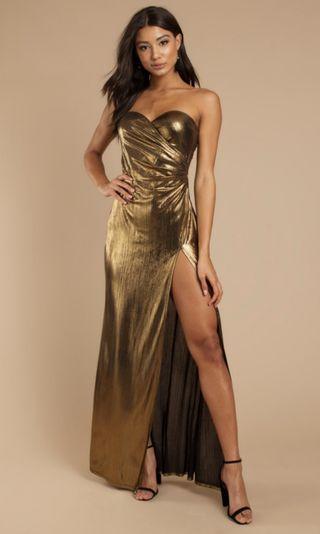 TOBI Gold Strapless Maxi Size M