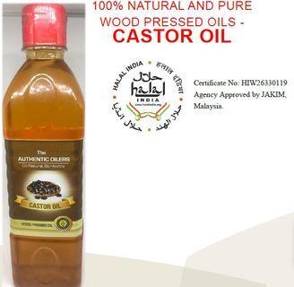 CASTOR OIL 500ml,100% NATURAL &PURE, WOOD PRESSED OILS