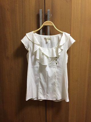[Banana Republic] White top with ruffles 白色雪紡上衣