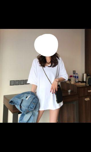 黑色長版寬鬆短袖T恤