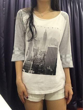 Cotton On Brooklyn Grey & White Top (Long Sleeves)