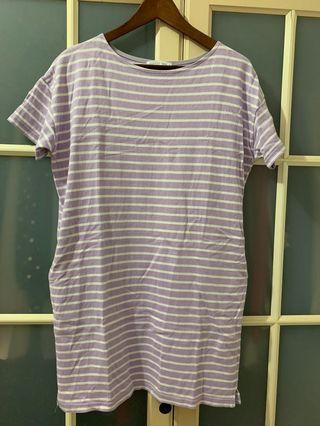 LOWRYS FARM日系品牌白紫條紋棉質洋裝