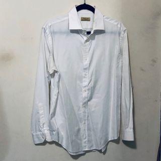 ZARA男生白色長袖襯衫 (size: EUR42)