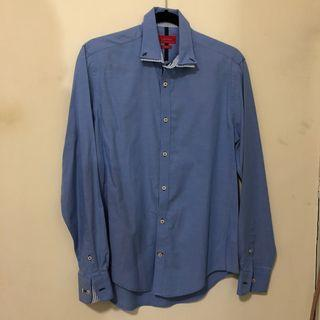 ZARA男生藍色長袖襯衫 (size: M)