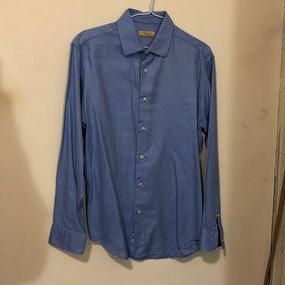 ZARA男生藍色長袖襯衫 (size: EUR42)