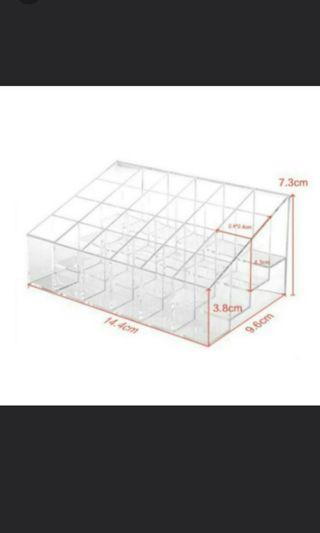 24 Slots Transparent Trapezoid Acrylic Plastic Jewelry Lipstick Cosmetic Holder Stand Storage Box