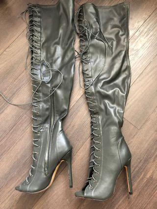 Olive colour lace-up stiletto boots size 7.5