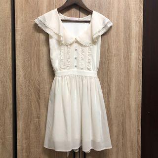 🚚 日牌 E hyphen world galleyr 白色 復古 法式 洋裝 少女 淑女 氣質