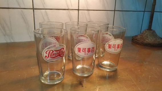 🚚 「百事可樂」玻璃杯×6—古物舊貨、早期企業品牌、玻璃製品收藏