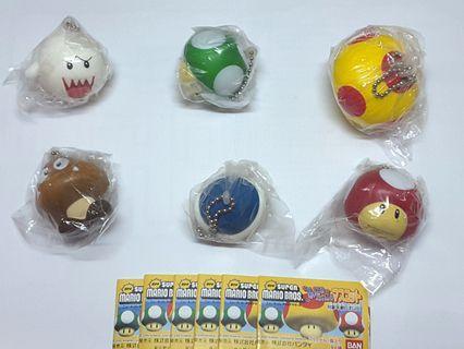 Mario 孖寶兄弟 軟綿綿 扭蛋 掛飾 全套6隻 齊蛋紙 全新 B款