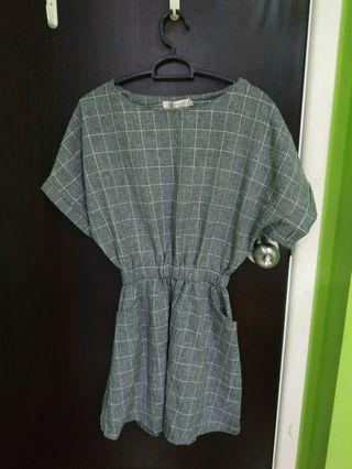 🚚 Korean grey checker dress
