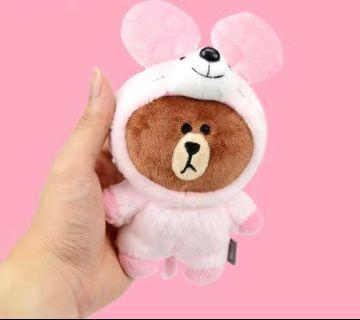 LINE Bear Plushie in Pink Mouse Suit Bag Charm
