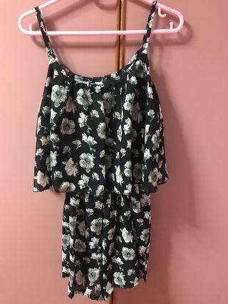 Korean black grey green floral romper