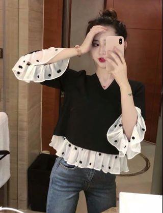 🚚 春裝復古韓風拼接顯瘦雪紡衫