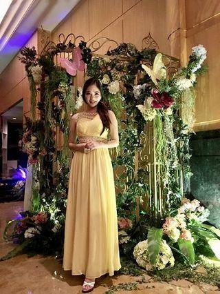 Yellow long dinner dress