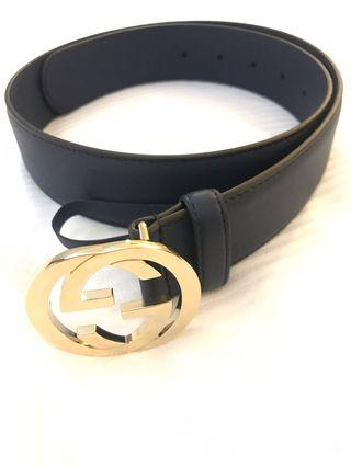 GUCCI Dark Blue Leather Belt with Light Gold Hardware 80cm 100% AUTHENTIC+BRAND NEW! #546386