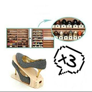 3 pcs shoe stacker / shoe double decker (beige colour)