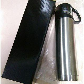 Thermo Flask Thermoflask black And Sliver With Cup And Handle Hand Carry Portable Approx 500ml