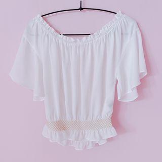 BN Heather Flare Sleeves White Blouse/ Off Shoulder Crop Top